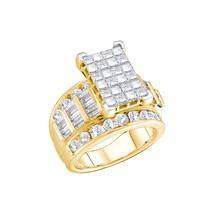 14kt Yellow Gold Princess Diamond Cluster Bridal Wedding Engagement Ring... - $3,274.00