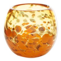 "Contemporary Orange Art Glass Bowl Vase or use as Decorative Piece 4"" High - $31.95"