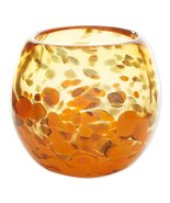 "Contemporary Orange Art Glass Bowl Vase or use as Decorative Piece 4"" High - $28.95"