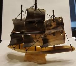 Vintage Horn Sailing Ship Boat Model 3 Masted Schooner Nautical Decor   ... - $0.99