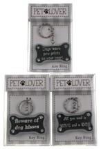 Dog Pet Lover Lot of 3 Key Chains Bone Shape Kisses Paw Prints Love Hear... - $9.99