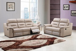 Global Furniture 9408 Contemporary Beige Leather Gel/Match Recliner Sofa... - $1,888.00