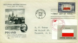 FIRST DAY COVER 1943 OVERRUN NATIONS FLAGS POLAND THE WORLD WAR II VALUE... - $27.00