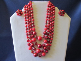 Vintage Four Strand Red Beaded Necklace & Clip On Earrings Set, Crystal ... - $16.99