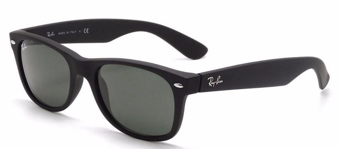 New RAY-BAN new Wayfarer RB 2132 622 Matte Black w/G-15 Green 52 mm