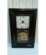 Antique New Haven Weight Driven Clock Reverse Painted Tablet c. 1860s - $232.65