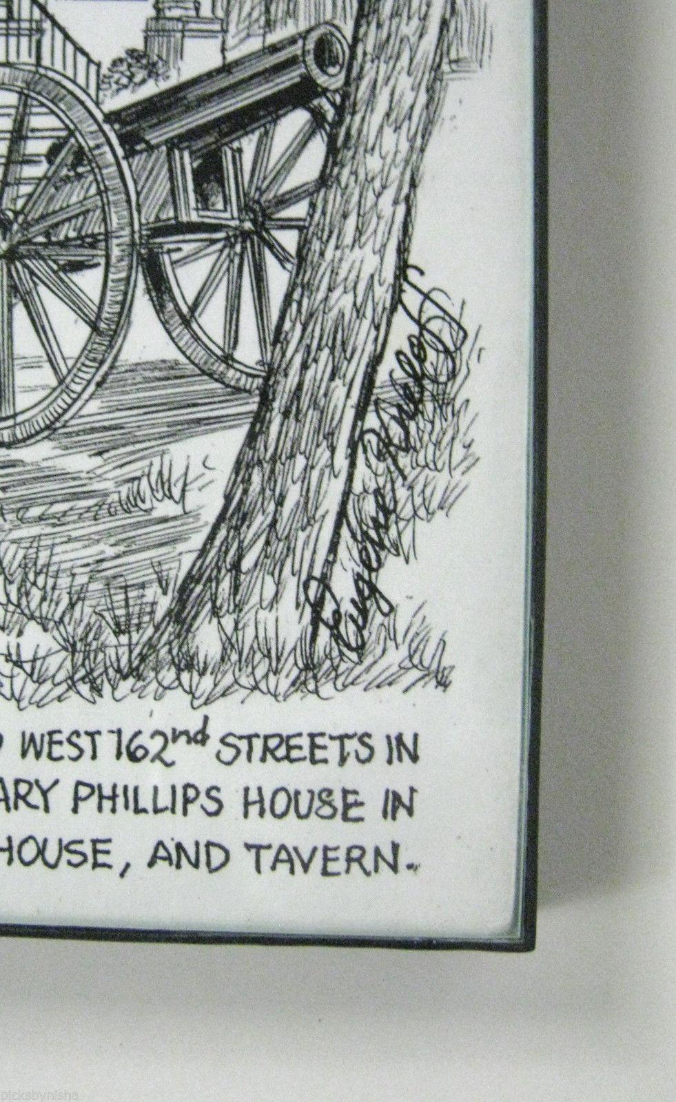 Drawing Jumel Mansion Eugene Kneloff Signed Pen Framed Small 10 In New York City