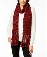 Steve Madden Shimmer-Knit Tassel Scarf (Dark Red, 9-1/2″ x 78″) - $31.23