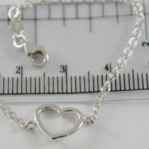 18K WHITE GOLD BRACELET 7.10 INCHES WITH HEART, ROUND ROLO CHAIN, MADE IN ITALY image 2
