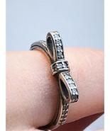 Vintage Hallmarked PANDORA ALE 925 Silver Bow Ring Swarovski Crystals 5U... - $58.50