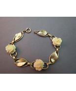 VTG 12k Gold Filled Link Bracelet Cream Flower ... - $29.69