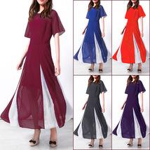 Women Maxi Dress Short Sleeve Patchwork Summer Casual Chiffon Long Dress  - $26.99