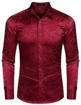 COOFANDY Men's Floral Long Sleeve Shiny Satin Silk Burgundy Dress Shirt - Large image 2
