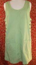 BILL BLASS Vtg 90s Grunge denim deep armholes pinafore overalls dress (T... - $29.68