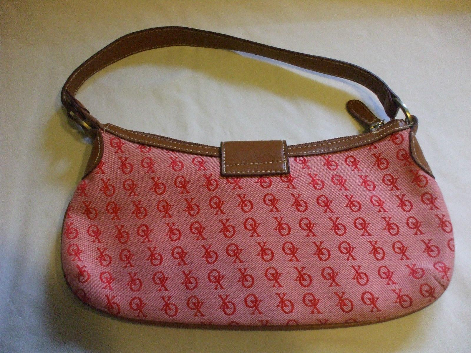 XOXO Red Nylon Purse Handbag With Brown Leather Strap