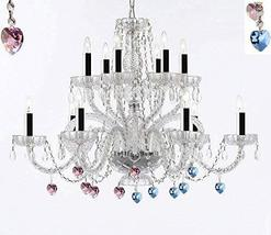 Murano Venetian Style All Empress Crystal (Tm) Chandelier with Blue and Pink Cry - $257.73