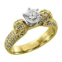 1.5 CARAT WOMENS ANTIQUE DIAMOND ENGAGEMENT WEDDING RING ROUND CUT YELLO... - £1,447.36 GBP