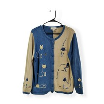 Christopher Banks 1X XL Hand Embroidered Cat Cardigan Sweater Button Cat... - $26.25