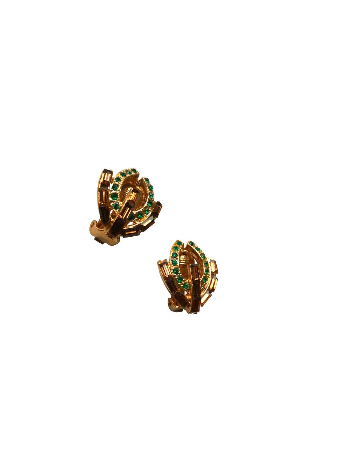 60s Amber Baguette Green Crystal Rhinestone Art Deco Vintage Clip On Earrings, W