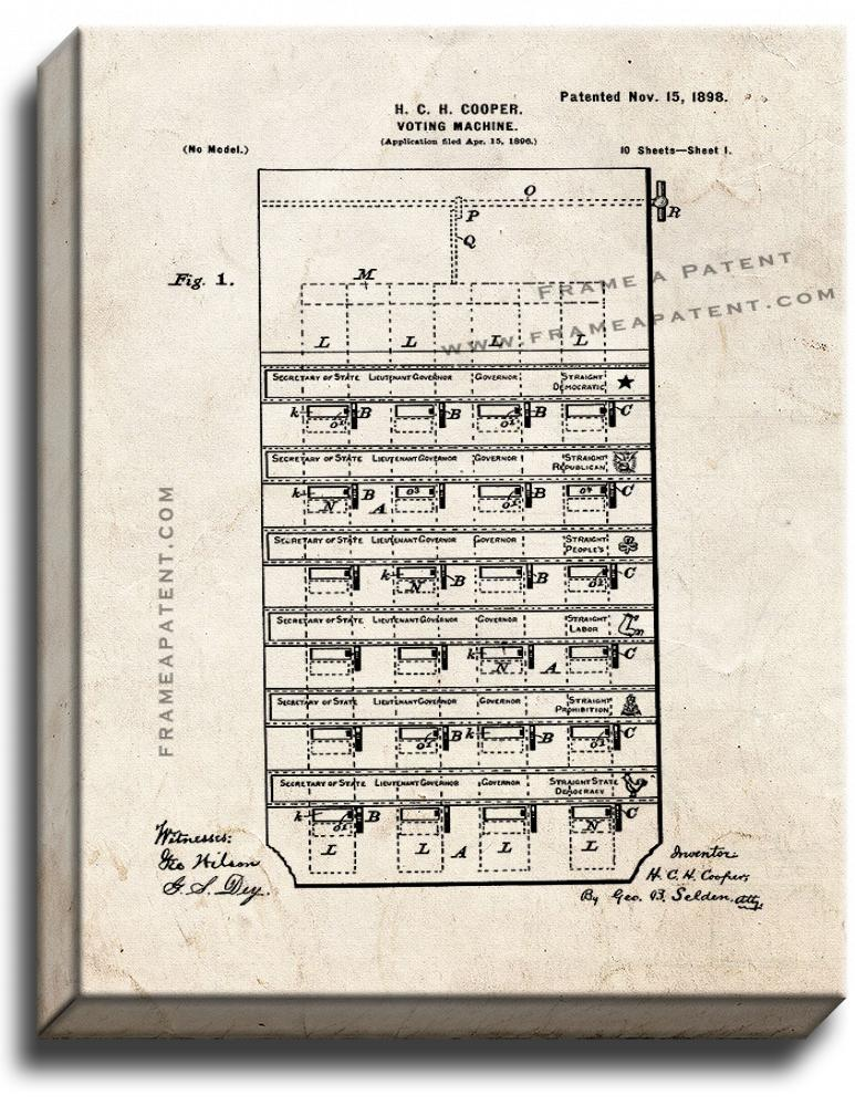 Primary image for Voting Machine Patent Print Old Look on Canvas