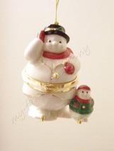 Lenox Snowman & Snowchild / Trinket Holder Box Christmas Tree Ornament - $27.00