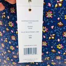 Tory Burch NWT Kerrington Square Tote Leather Blue Wild Pansy $298 Shoulder Bag image 10