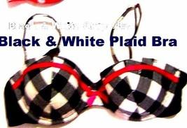 Xhilaration Black & White Plaid w/Red Accents Padded Bra Style #227643 Sz 36C  - $28.49