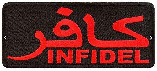 Infidel Embroidered Red Iron-On Patch In Arabic - 4x1.75 inch