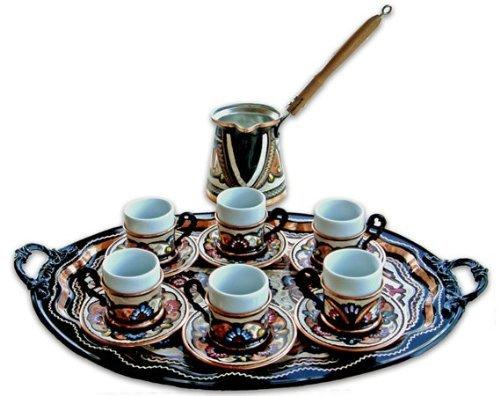 Turkish Coffee World TCW0004AM Turkish Coffee Set for 6 with Oval Tray