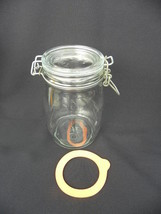 Vintage Triomphe France 1L Glass Jar Canister with Hinged Metal Bale Lid - $5.99