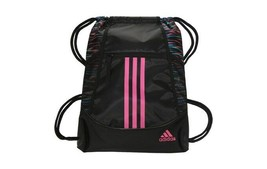 Adidas Alliance II Sackpack Drawstring Gym Bag Backpack Black with Pink - $15.00