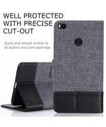 MUXMA Leather Canvas Splicing Wallet Stand Folio Cover for Xiaomi Mi Max... - $6.87