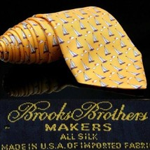 Brooks Brothers Blue Gold Sail Boat's Boat Sea Clouds Dream Tie - $35.83