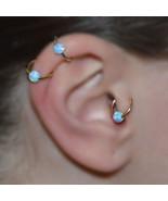 16g Titanium Opal Stone Hinged Segment Ring Lip Nipple Cartilage Tragus ... - $10.64