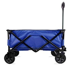 CROWNSTARQI Blue Collapsible Folding Garden Cart Utility Shopping WagonF... - $127.76