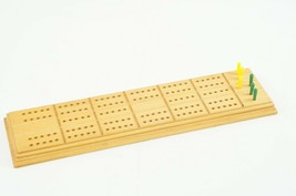 Vintage Horn Wooden Cribbage Bboard Model C-9 With Pegs Made in USA - $14.03