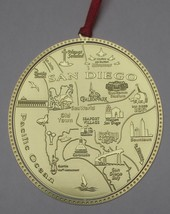 San Diego California Landmarks Brass Ornament Made in the USA - $16.00+