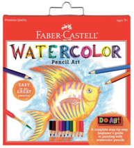 Faber-Castell 15 Piece Watercolor Pencil Paper Art Set for Beginners Ages 9+ NEW image 1