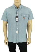 New Ralph Lauren Short Sleeve Pocket Usa Flag Indigo Chambray Cotton Shirt Xl - $39.99