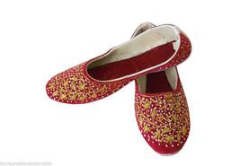 Women Shoes Indian Handmade Mojari Designer Leather Red Ballerinas Jutti... - £20.43 GBP