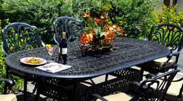 Patio dining set 7pc Elisabeth outdoor cast aluminum oval table Desert Bronze image 2