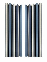VERTICAL STRIPE BLUE GREY BEIGE FULLY LINED ANNEAU TOP CURTAINS 7 SIZES - $30.23+