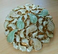 "Vintage Gold-tone Large Cream/Green Enamel Swirl Filigree Brooch 2.5"" - $26.72"
