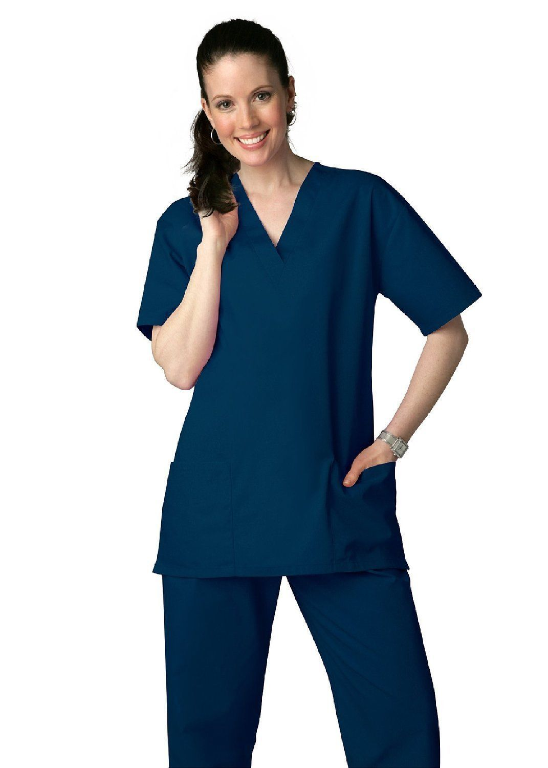 Scrub Set Navy V Neck Top Drawstring Pants 3XL Adar Medical Uniforms 2 Piece image 3