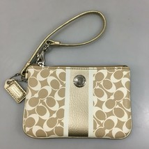 Coach Gold Ivory Signature Leather Wristlet w Hang Tag 6 x 4 inches - $33.81