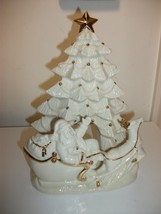 LENOX LARGE CHRISTMAS TREE SANTA CLAUS IN SLEIGH HOLIDAY VOTIVE CANDLE H... - $39.99
