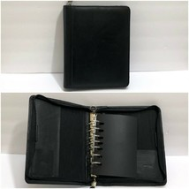 Franklin Quest Classic Black Top Grain Cowhide Leather Binder Planner Zi... - $42.05