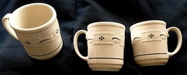 3 Longaberger Pottery Woven Tradition Blue Coffee Tea Cider Mugs Cups USA - $34.64