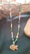 Old Mine Kingman's Turquoise Necklace,w/ Milk quartz, Fish pendant Men or Women image 6
