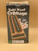 Solid Wood Cribbage Game 3 Track Board with Playing Cards Cardinal New Folding - $10.89